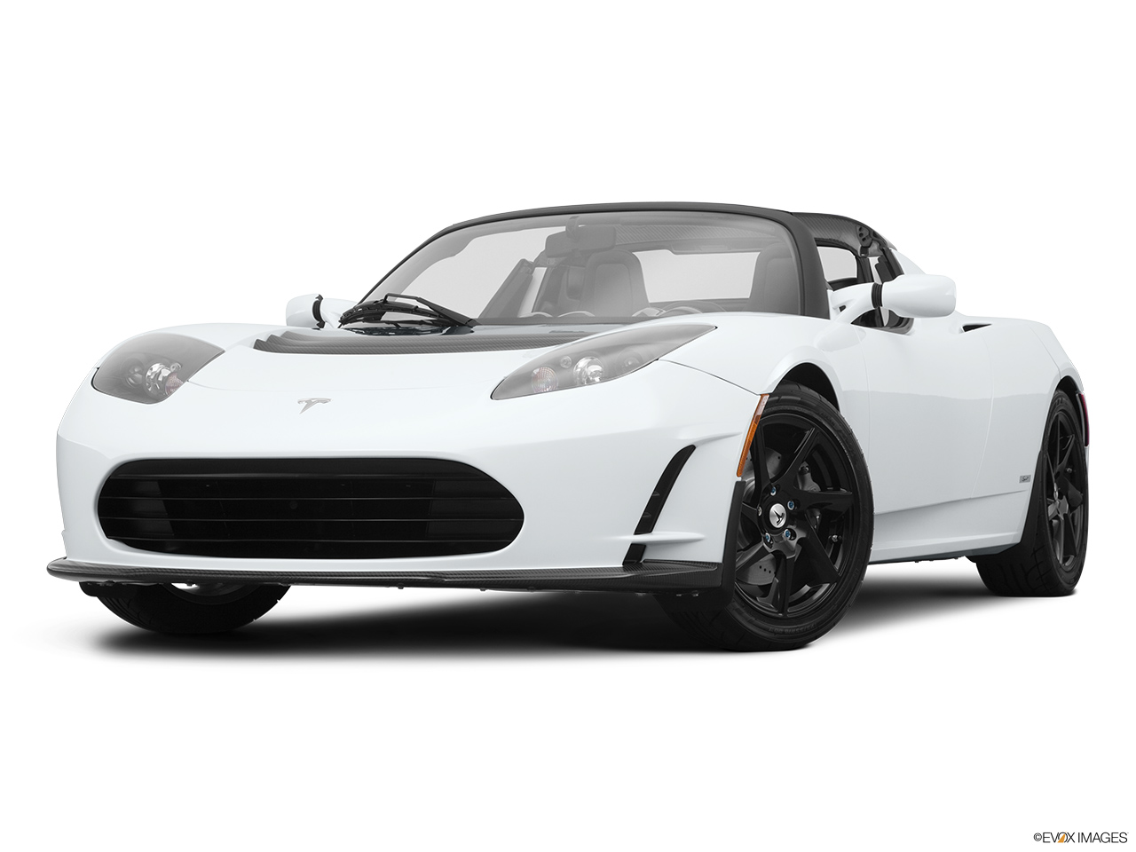 2010 Tesla Roadster sport Front angle view, low wide perspective.