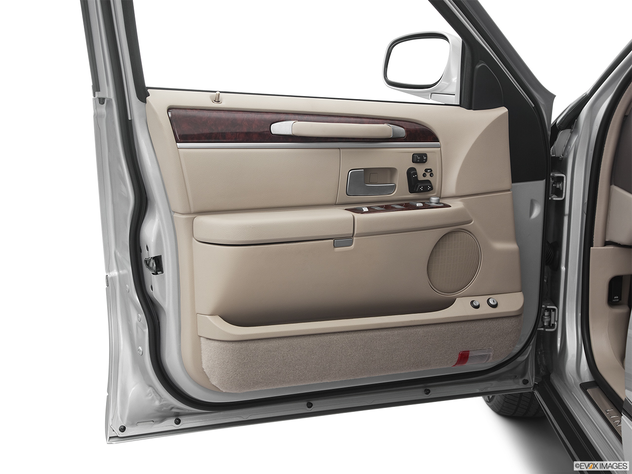 2011 Lincoln Town Car Signature Limited Inside of driver's side open door, window open.