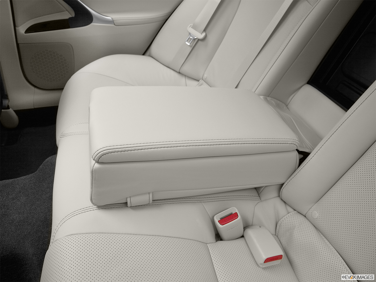 2012 Lexus IS 250 IS250 Rear center console with closed lid from driver's side looking down.