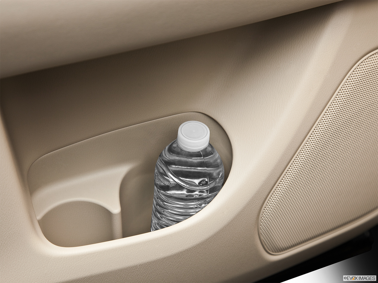 2013 Infiniti JX JX35 Second row side cup holder with coffee prop, or second row door cup holder with water bottle.