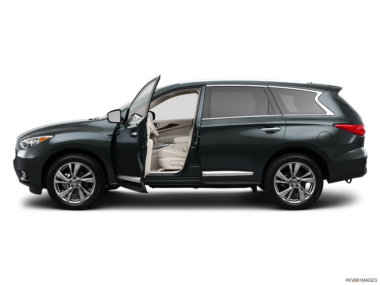 2013 Infiniti JX JX35 Driver's side profile with drivers side door open.