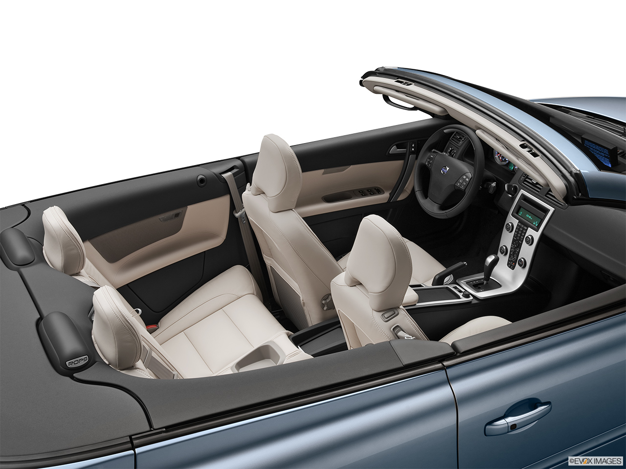 2013 Volvo C70 T5 Platinum Convertible Hero (high from passenger, looking down into interior).