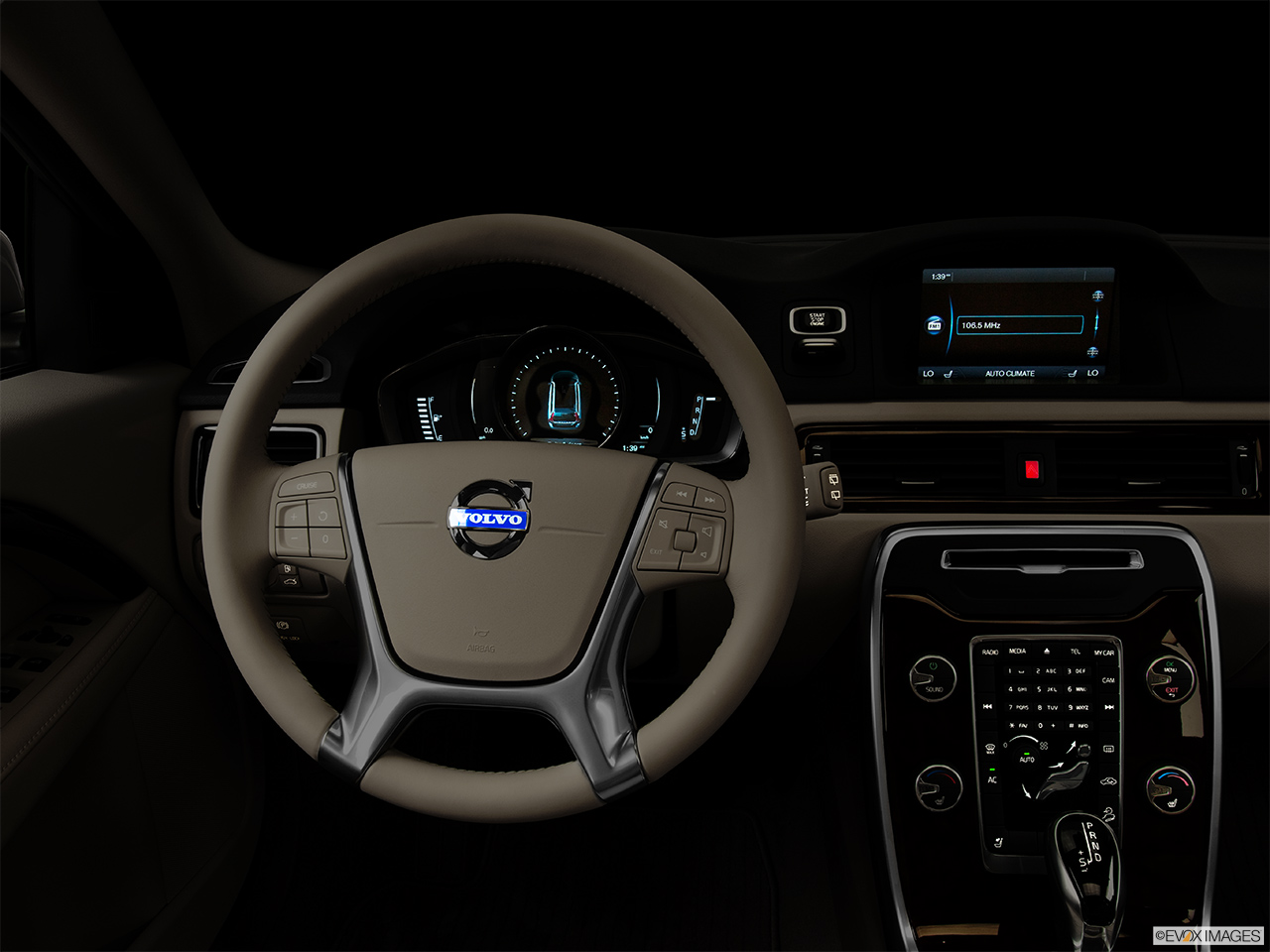 "2014 Volvo XC70 3.2 AWD Premier Plus Centered wide dash shot - ""night"" shot."