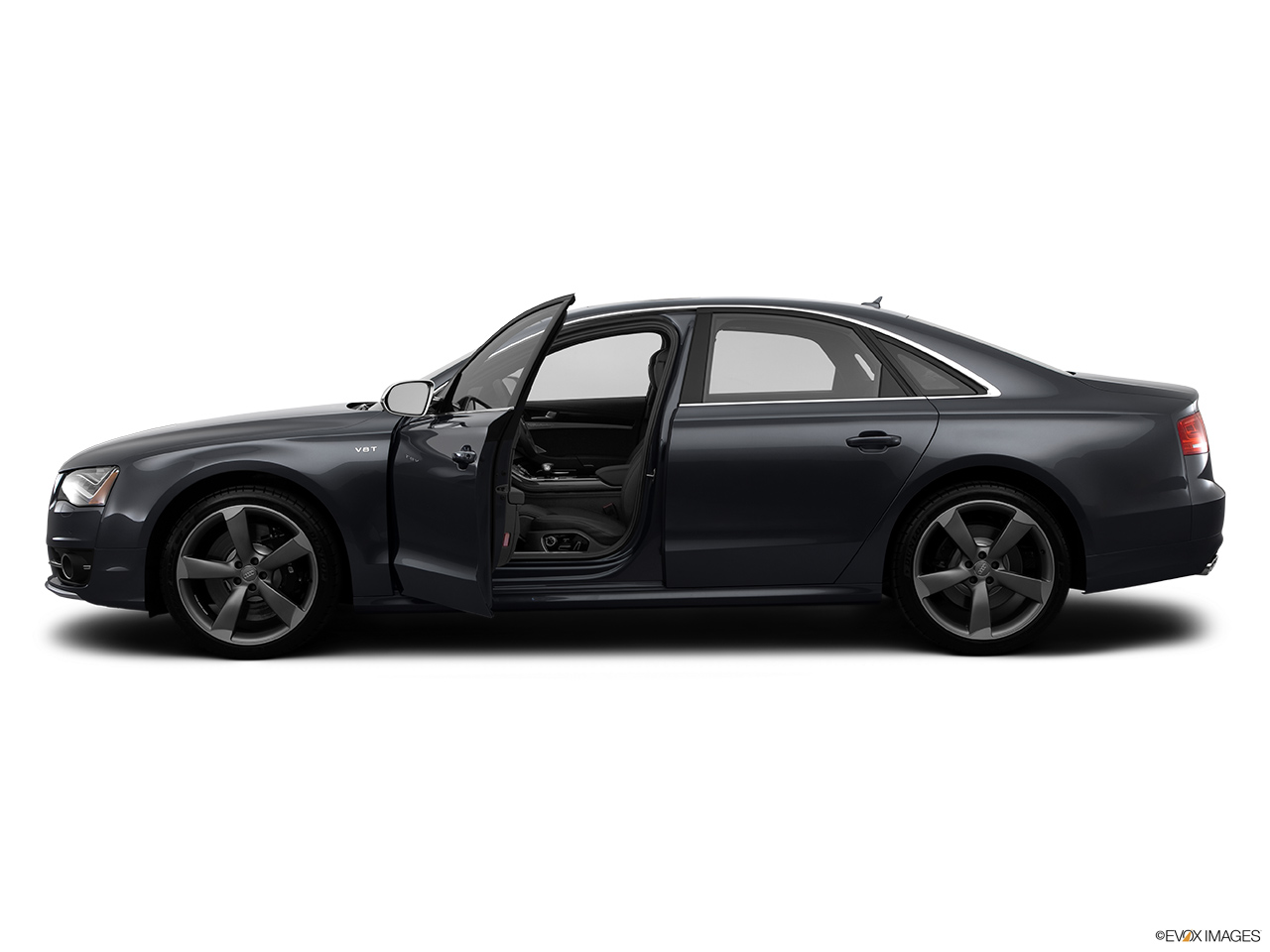 2014 Audi S8 4.0 TFSI Driver's side profile with drivers side door open.