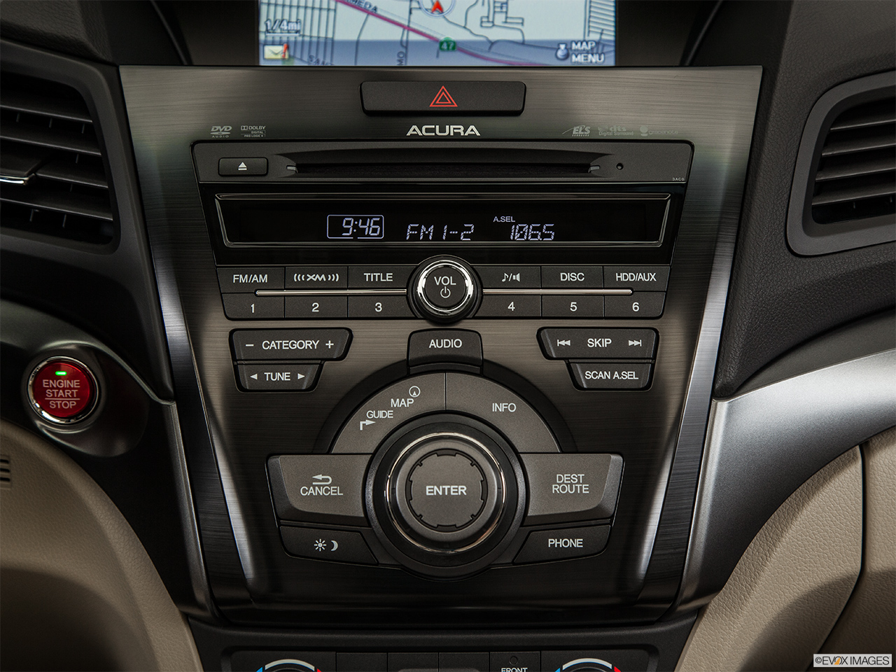 2014 Acura ILX Hybrid Base Closeup of radio head unit