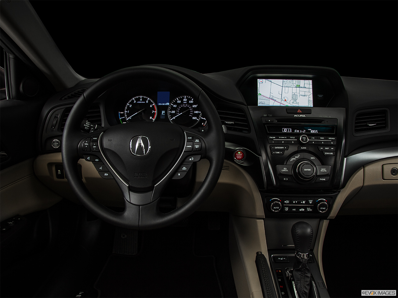 "2014 Acura ILX Hybrid Base Centered wide dash shot - ""night"" shot."