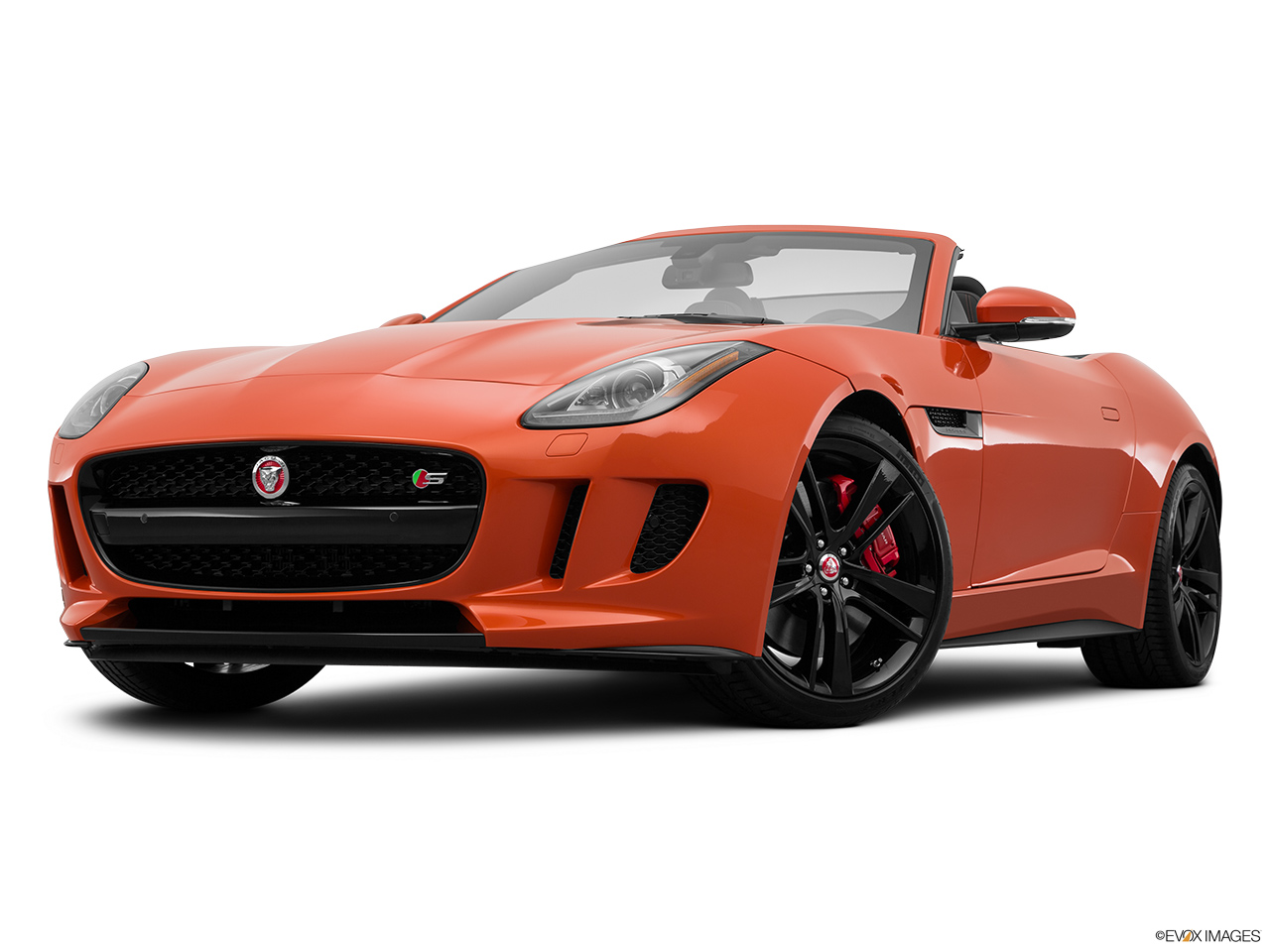 2015 Jaguar F-Type Convertible V8 S Front angle view, low wide perspective.