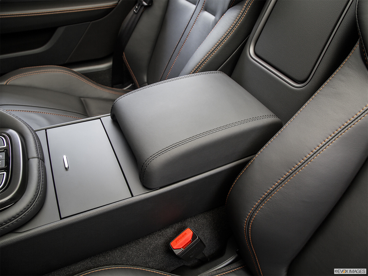2015 Jaguar F-Type Convertible V8 S Front center console with closed lid, from driver's side looking down