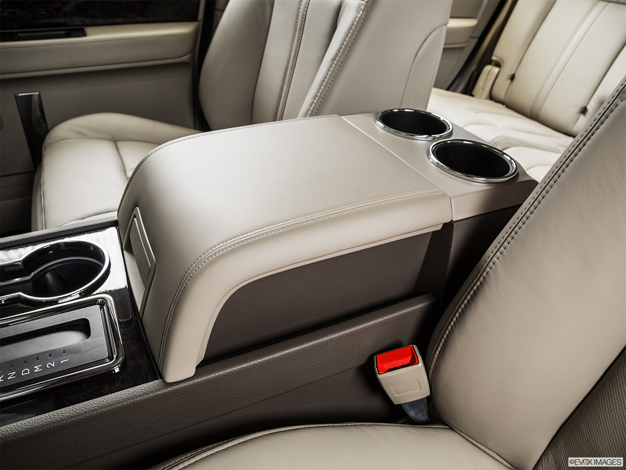 2015 Lincoln Navigator Base Front center console with closed lid, from driver's side looking down