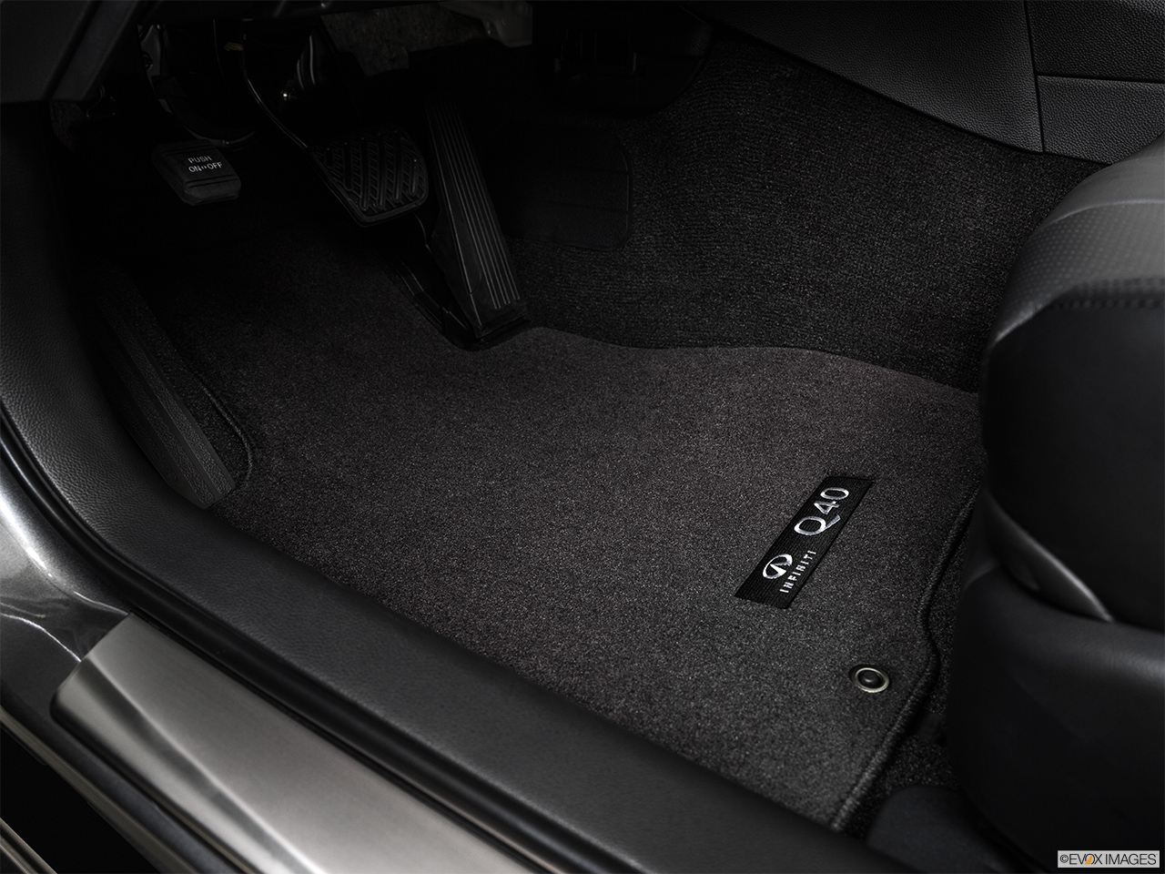 2015 Infiniti Q40 Base Driver's floor mat and pedals. Mid-seat level from outside looking in.